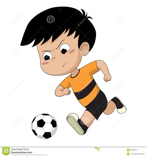 Kid Playing Football Stock Vector Illustration Of Player