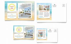 beach house postcard template design With 6x4 postcard template