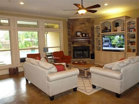 8 photos living room with corner fireplace and tv
