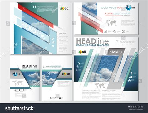 social media post template social media posts set business templates stock vector 461429443