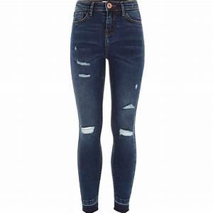 Girls dark blue ripped Amelie skinny jeans - Seasonal ...