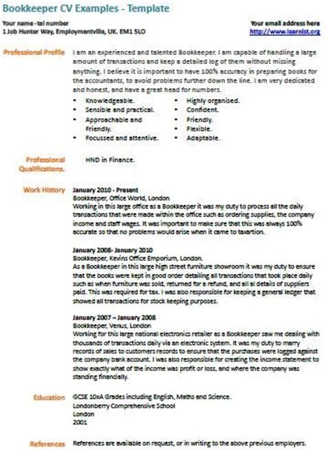 Freelance Bookkeeper Resume by Cv Exles On