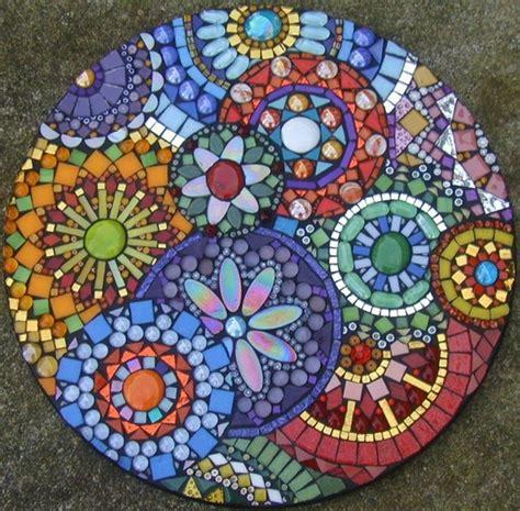 mosaic stepping stones on mosaic pots mosaic
