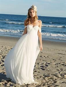 off the shoulder soft chiffon summer beach wedding dress With summer dresses for weddings on beach