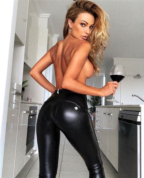 Sexy Blonde Topless In Black Tight Pants Having G R L