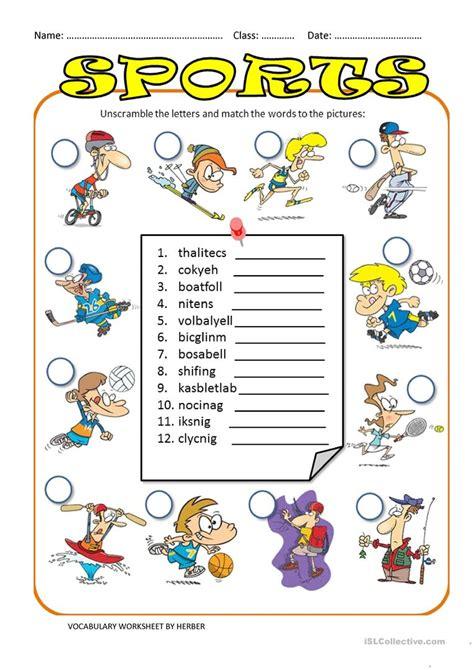 unscramble sports ws esl worksheets