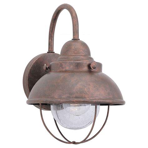 copper exterior light fixtures sea gull lighting sebring 1 light weathered copper outdoor