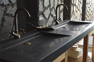 double vasque en pierre fole39ge shadow granit noir With salle de bain design avec evier granit noir