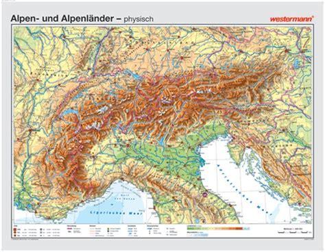 alpen und alpenlaender physisch politisch landkarte