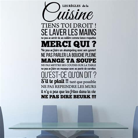 sticker de cuisine cool stickers muraux citations sticker les rgles de la