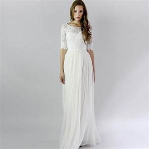 half sleeve long white vintage lace beach summer wedding With long dresses for summer wedding