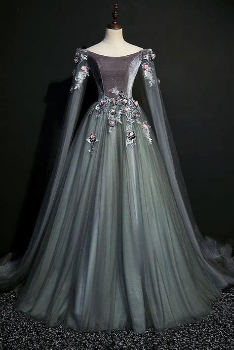 dark grey  century inspired rococo gown  lark