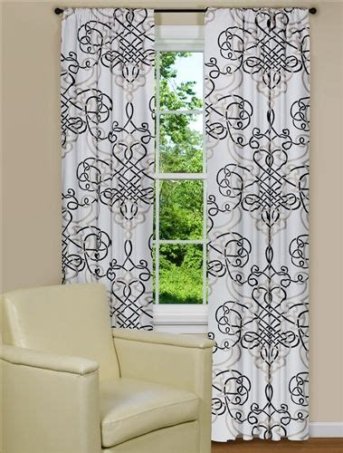 black and white curtain panel with scroll design kitchen