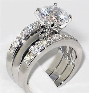 337 ct round cz solitaire bridal engagement wedding 3 With 3 ct wedding ring set