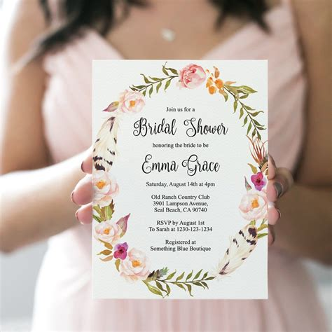 "Bohemian Bridal Shower Invitation Template ""Gorgeous"