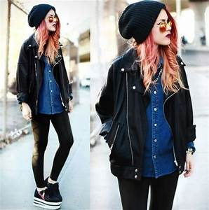 Hat black beanie sunglasses shirt coat hipster grunge perfecto le happy soft grunge ...