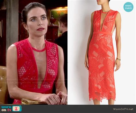 wornontv victorias red lace overlay dress   young