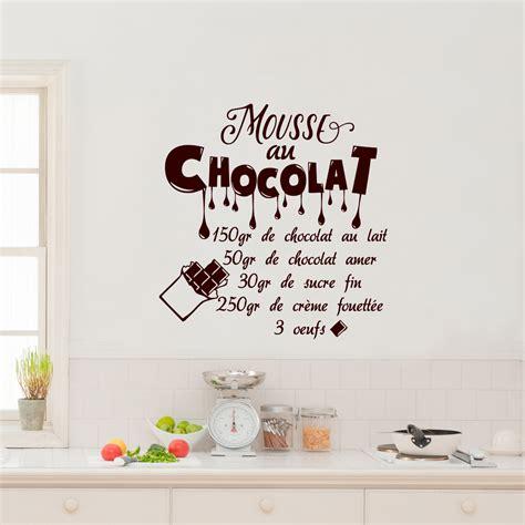 stickers muraux cuisine citation sticker citation recette mouse au chocolat 150 gr