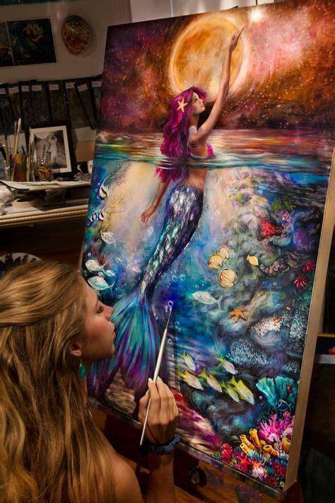 moonlit siren paper print what to paint mermaid