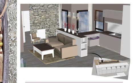 Agencement 3D d un salon/cuisine de 30 m2 réalisé à partir