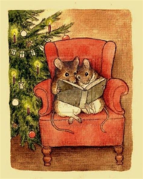 mice reading christmas book for the love of paper and