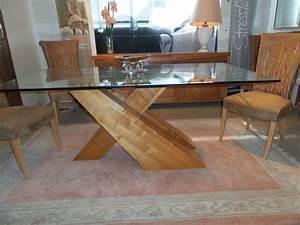 salle a manger contemporaine en bois massif et verre With meuble salle À manger avec table verre et bois salle À manger