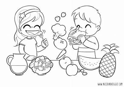 Coloring Pages Nutrition Healthy Eating Children Printable