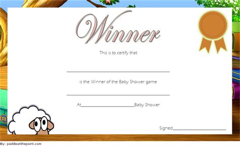 baby shower winner certificates     designs