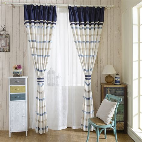 blue and white striped curtains simplement blue white cotton linen striped curtains