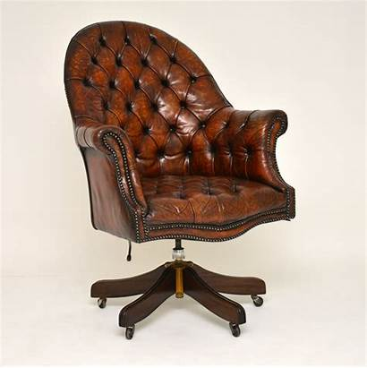 Chair Desk Antique Leather Swivel Mahogany Armchairs