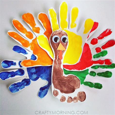 thanksgiving arts and crafts arts and crafts turkey handprints and foot