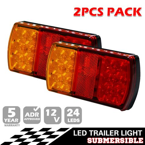 pair 12v led light stop brake lights waterproof boat