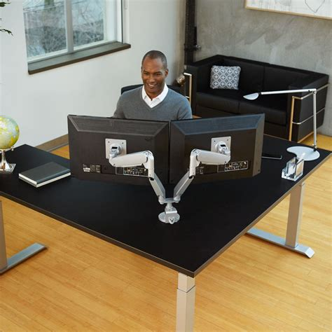dual monitor office desk conform dual articulating monitor arm workrite ergonomics