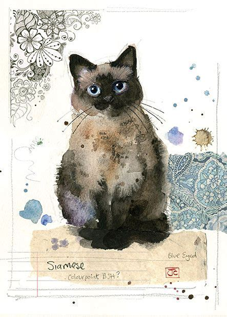 siamese cat  jane crowther  bug art greeting cards