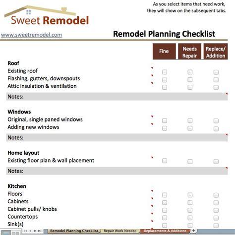 remodel planning checklist checklist
