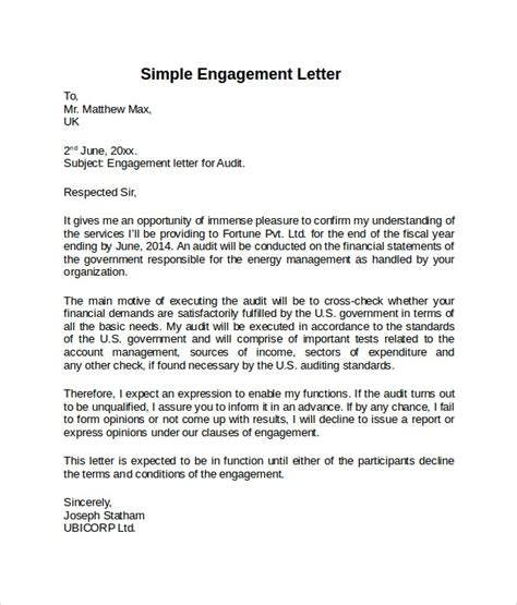 sample engagement letter templates   ms word
