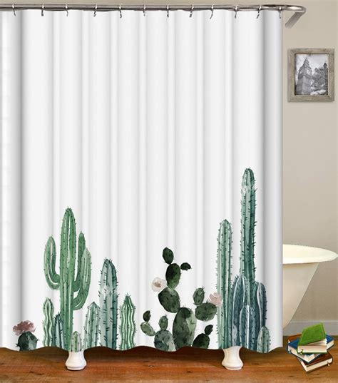 Cactus Shower Curtain - enipate tropical cactus shower curtain waterproof