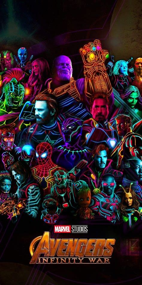 characters  avengers infinity war  neon color poster