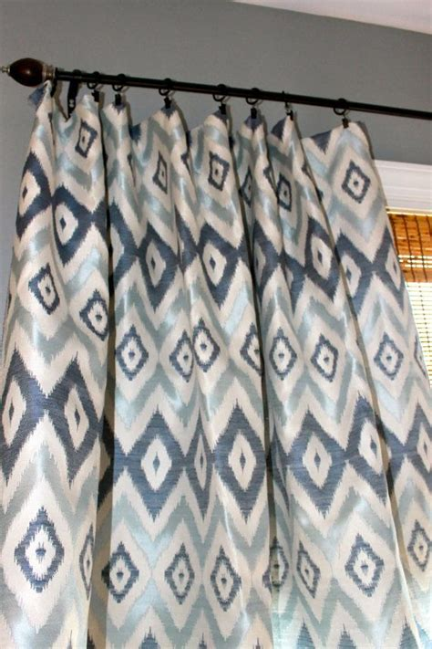 navy blue light blue and ivory ikat curtain panel