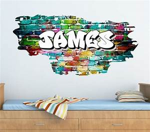 Personalised Graffiti Brick & Name Wall Sticker,Decal ...