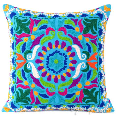 Colorful Sofa Pillows by Blue Embroidered Colorful Decorative Boho Sofa