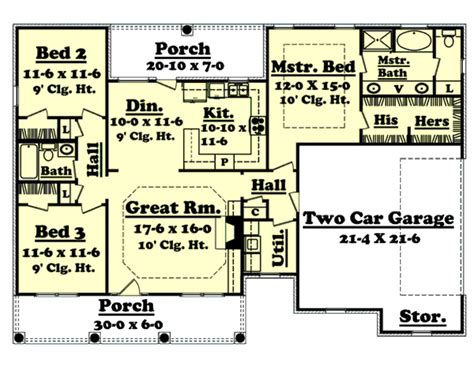 1500 sq ft house floor plans southern style house plan 3 beds 2 00 baths 1500 sq ft