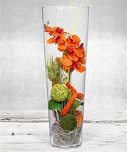 Deko Für Vasen : deko vase orchidee orange 50cm jetzt bestellen bei valentins valentins blumenversand ~ Indierocktalk.com Haus und Dekorationen