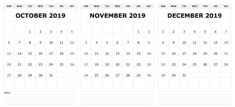 view printable october november december  calendar