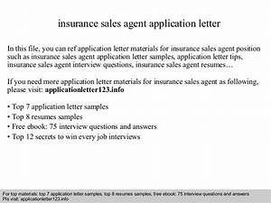 Insurance sales agent application letter for Insurance marketing letters