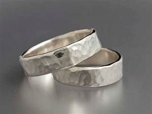 Simple Hammered Sterling Silver Wedding Bands Set Of Two 5mm