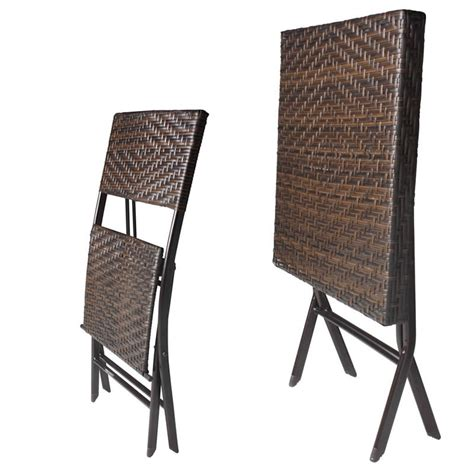 rattan effect 60cm square folding table with two chairs
