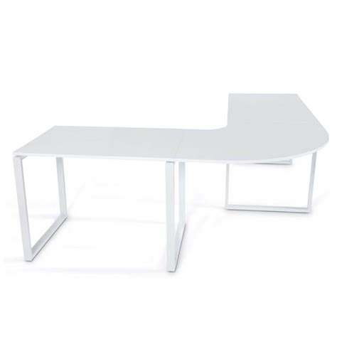 bureau blanc et bois bureau d 39 angle design fidji en bois laqué et métal peint