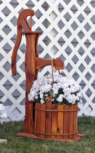 outdoor large cedar pump planter  bucket