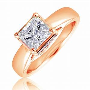 Princess cut engagement ring in 14kt pink gold with for Princess cut pink diamond wedding rings